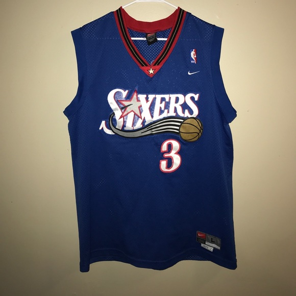 newest 7bc38 a5c19 Nike Allen Iverson #3 Sixers Jersey